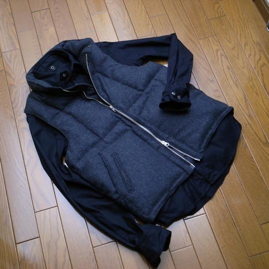 Engineered Garments(エンジニアード・ガーメンツ)ウールダウンベスト×wjk(ダブルジェイケイ)ワイヤー入りオックスフォードシャツ
