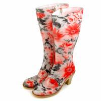 イタリア製レインブーツ(長靴)REGINA REGIS RAIN[FIORI ROSSO NERO]