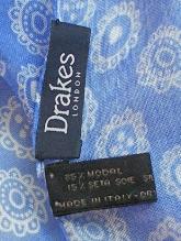 DRAKE'S(ドレイクス)バティック調ストール/ブルー×ホワイト