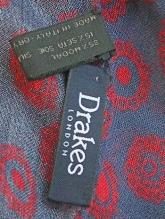 DRAKE'S(ドレイクス)バティック調ストール/グレー×レッド